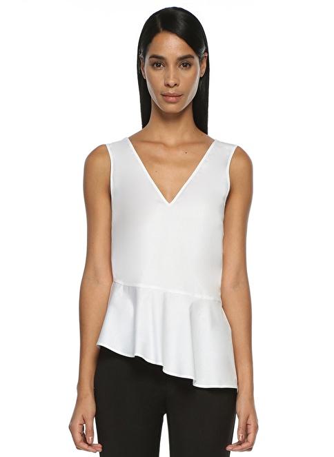 Beymen Club Kolsuz V Yaka Uçları Volanlı Bluz Beyaz